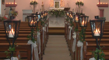 lanterns with ivy for the church aisles